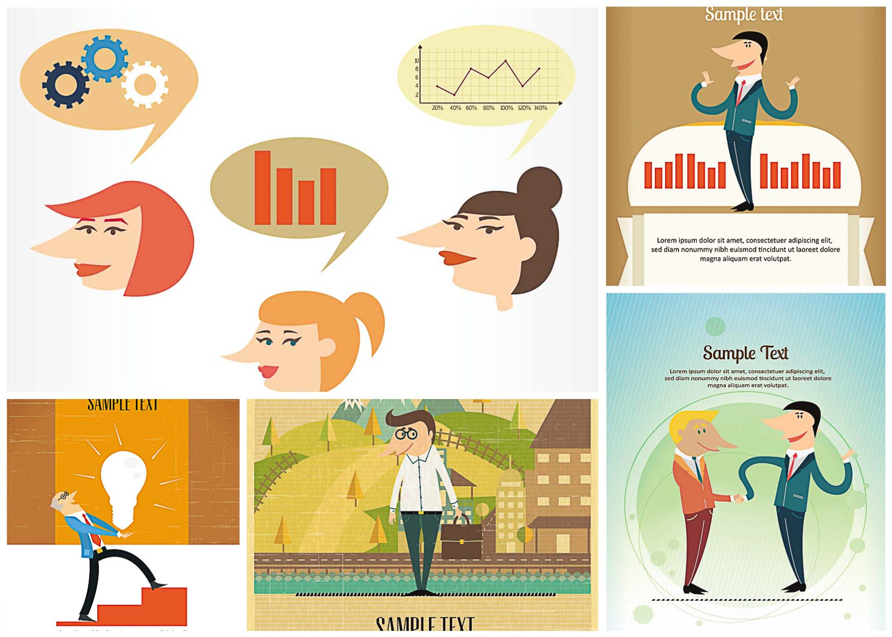 5 vectors with cartoon postcards with business thematics