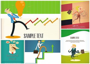 5 vectors cartoon card business thematics