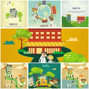 Different cartoon landscapes with buildings vector set