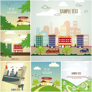 6 vectors with houses and trees