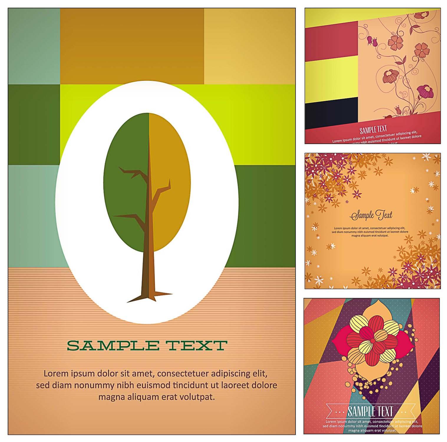 floral postcards and illustration set