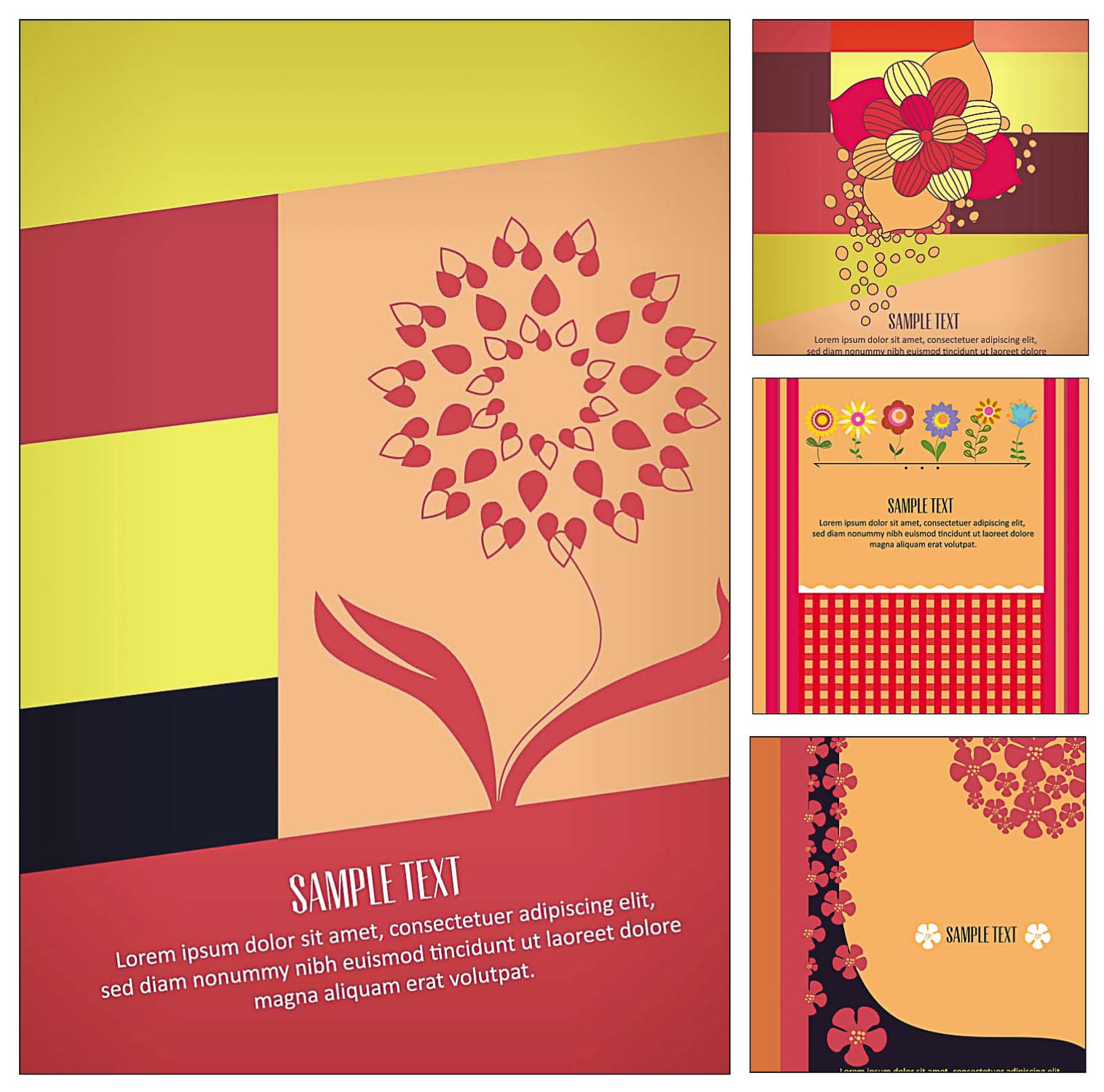 4 Floral postcards for designs