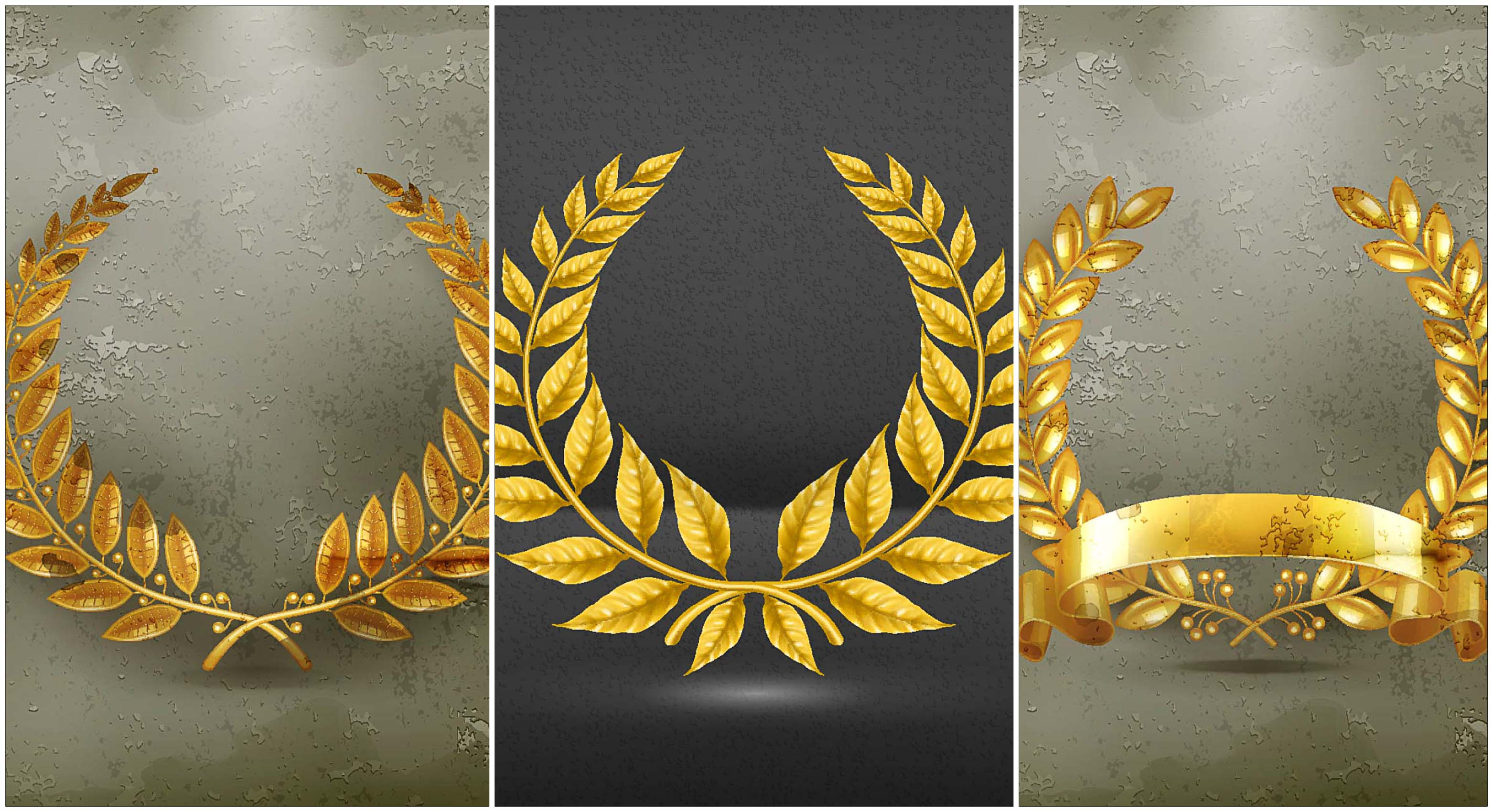 set of golden wreaths vector
