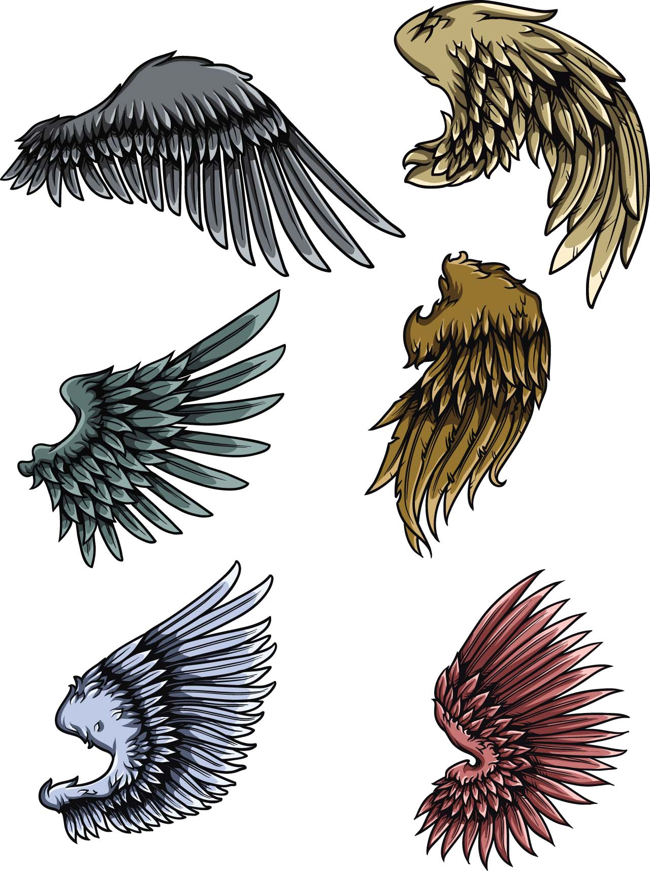 Grunge wings set vector