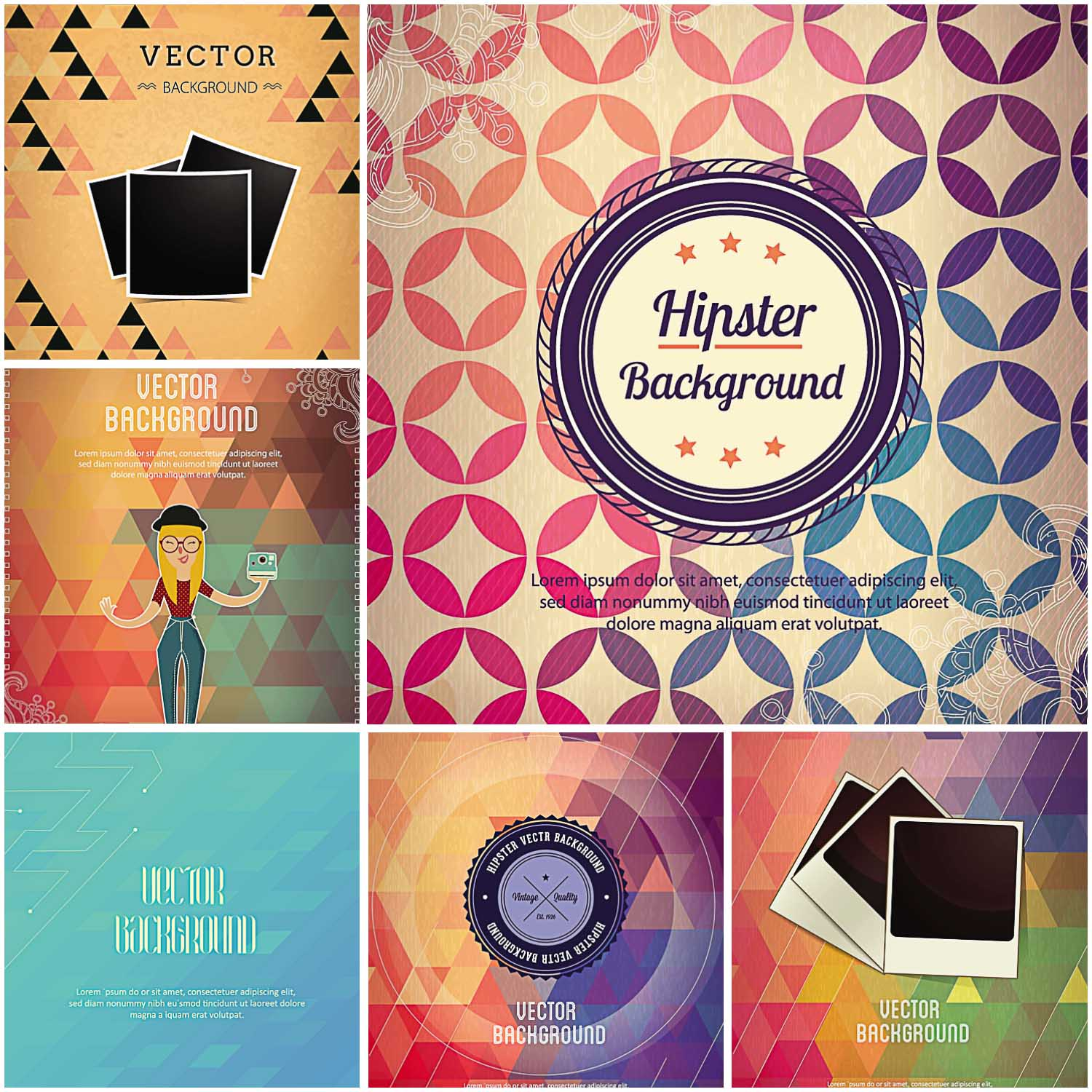 hipster elements vector card