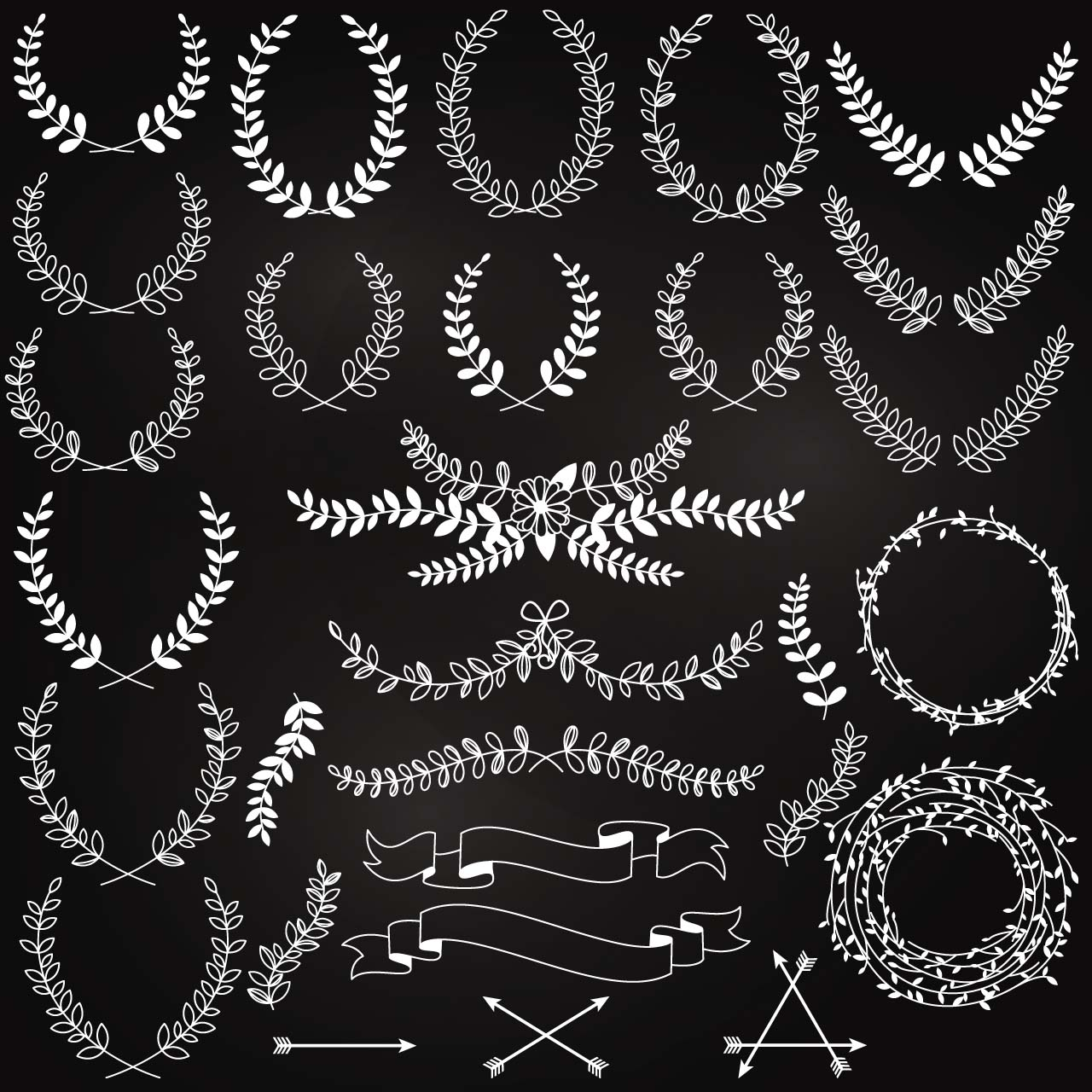 Of Wreaths Set Of Wreaths White Vector Free Download