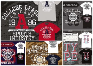 5 set of sport related t-shirt vector