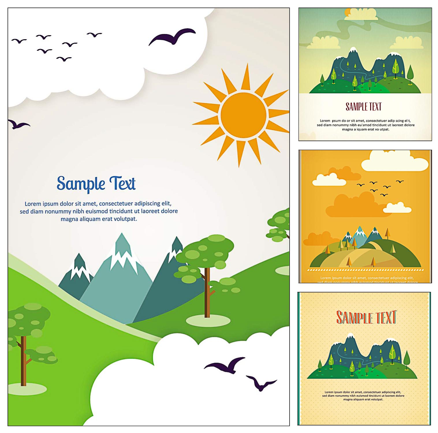 mountains and trees postcard vector