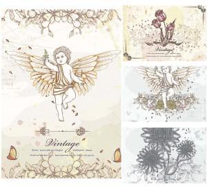 Vintage elements wedding invitation card set vector
