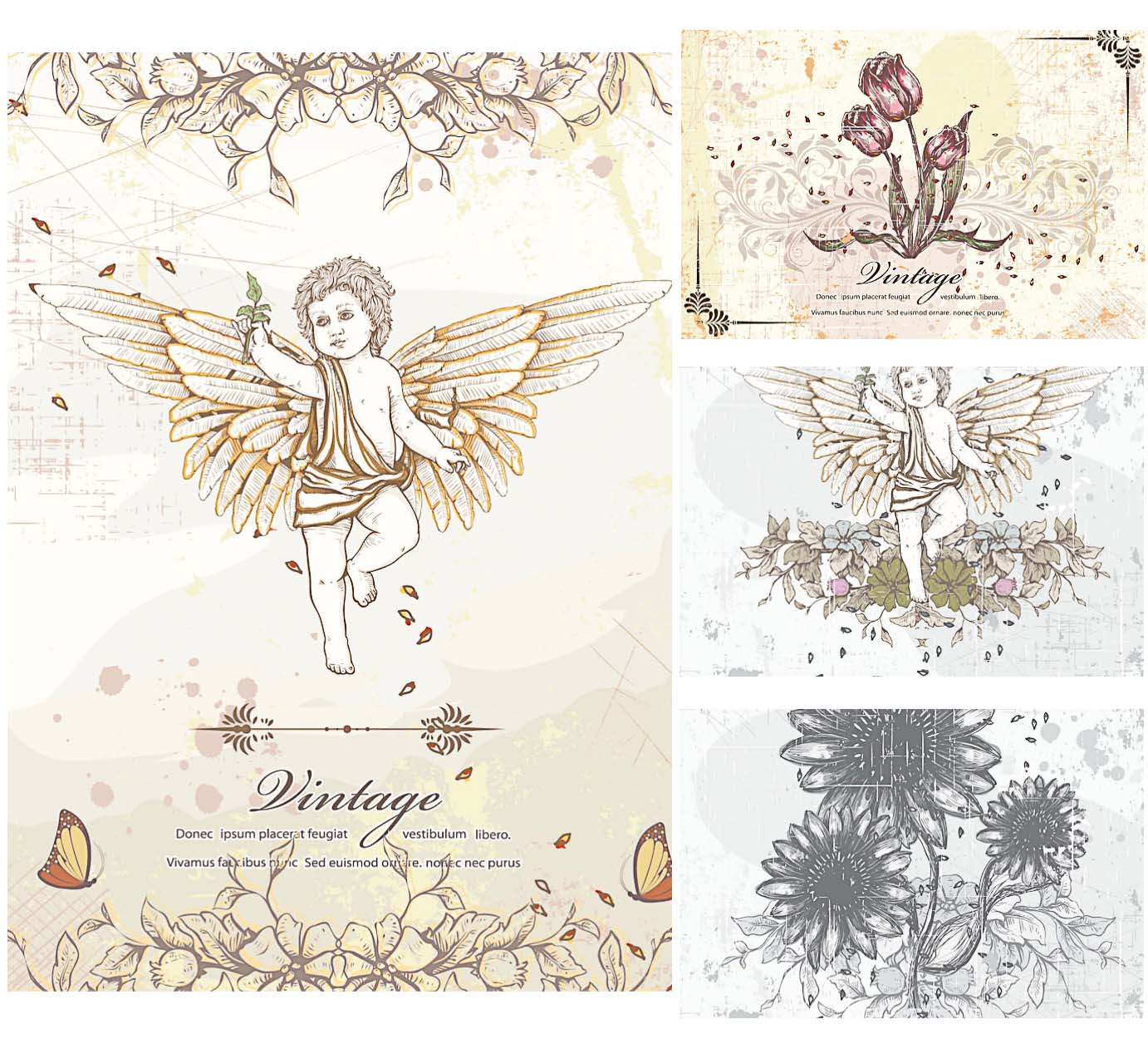 ancient angels and flowers vector elements