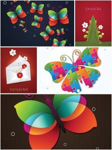 Spring butterflies set vector
