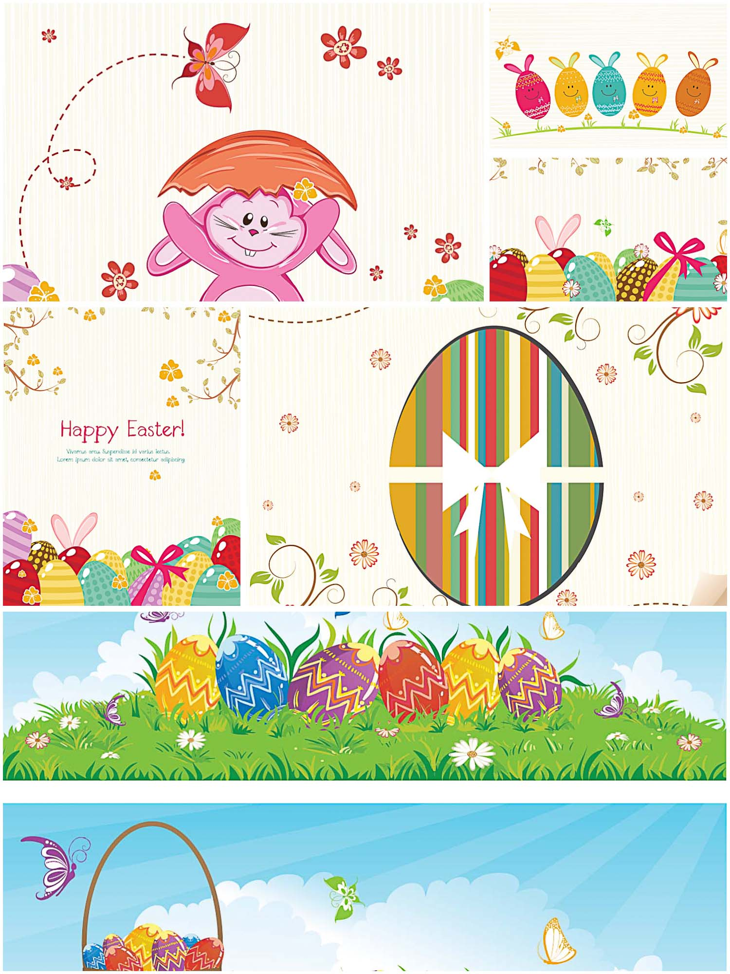 Easter colorful greeting card set vector