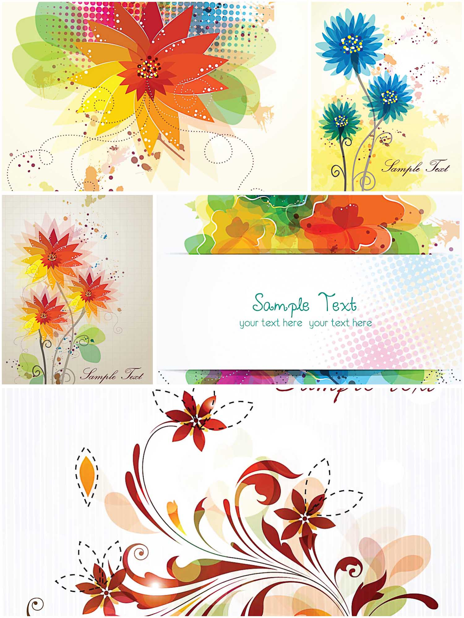 Colorful floral greeting cards set vector