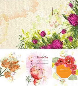 Flowers canvas set vector