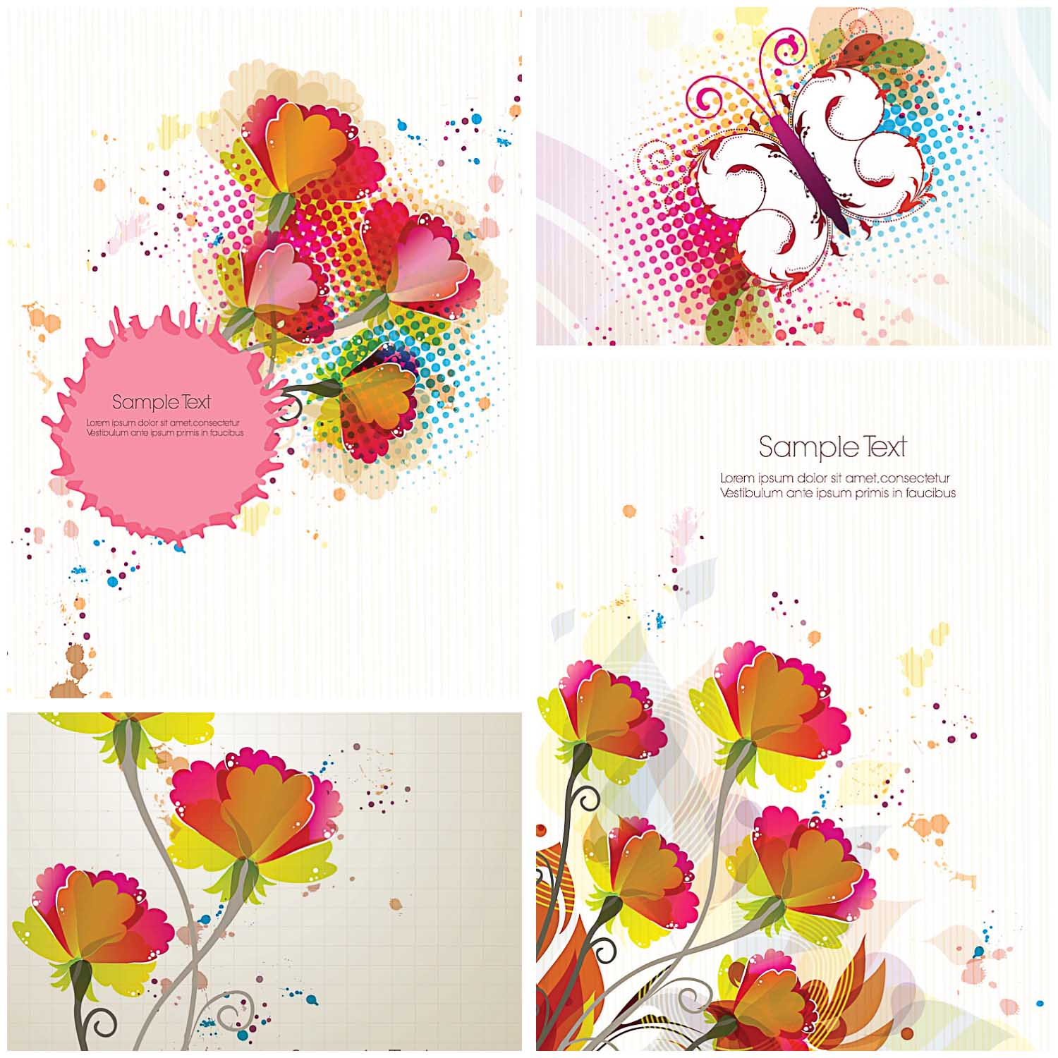 Bright floral greeting cards set vector