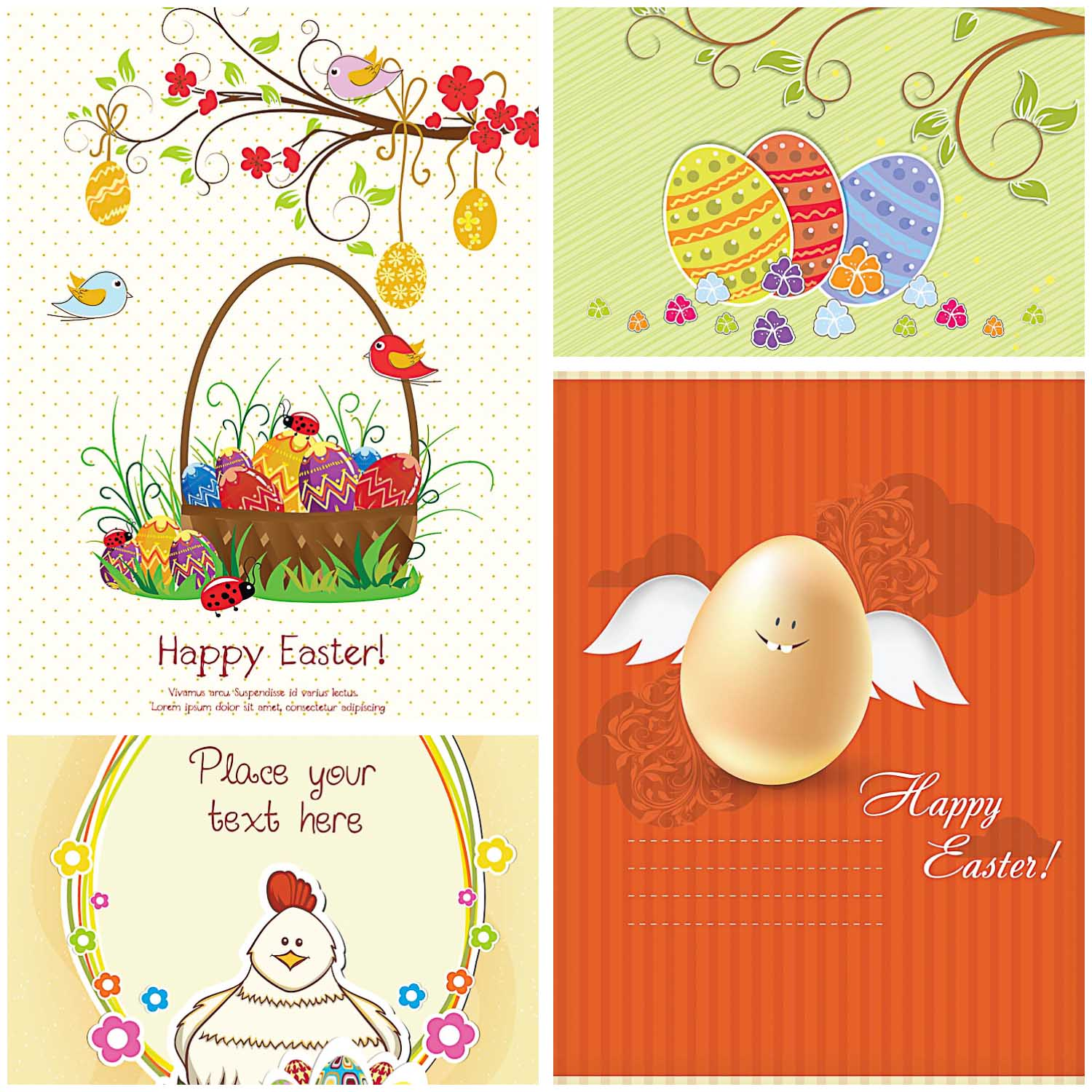 Cute Easter Greeting Card Set Vector Free Download