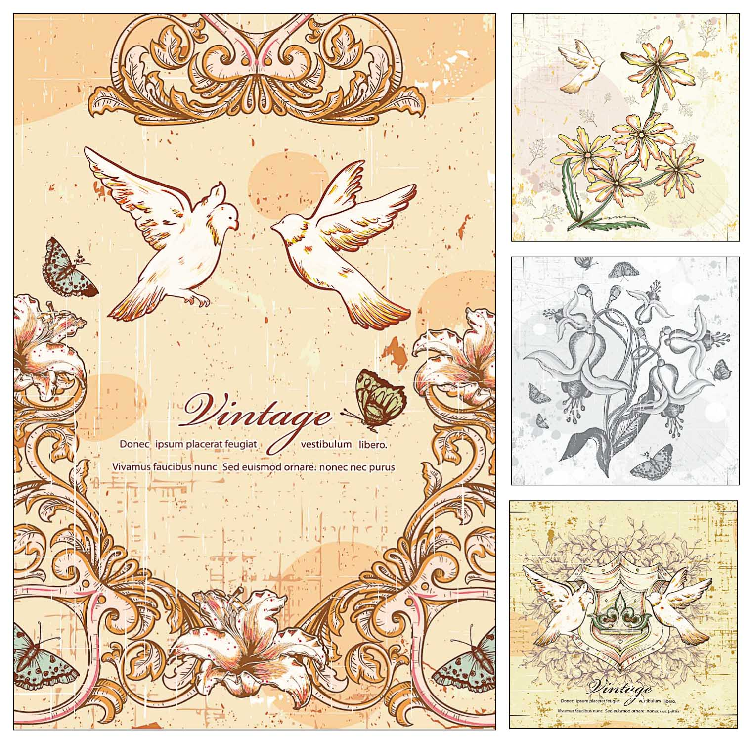 Pigeons and flowers vintage set vectors