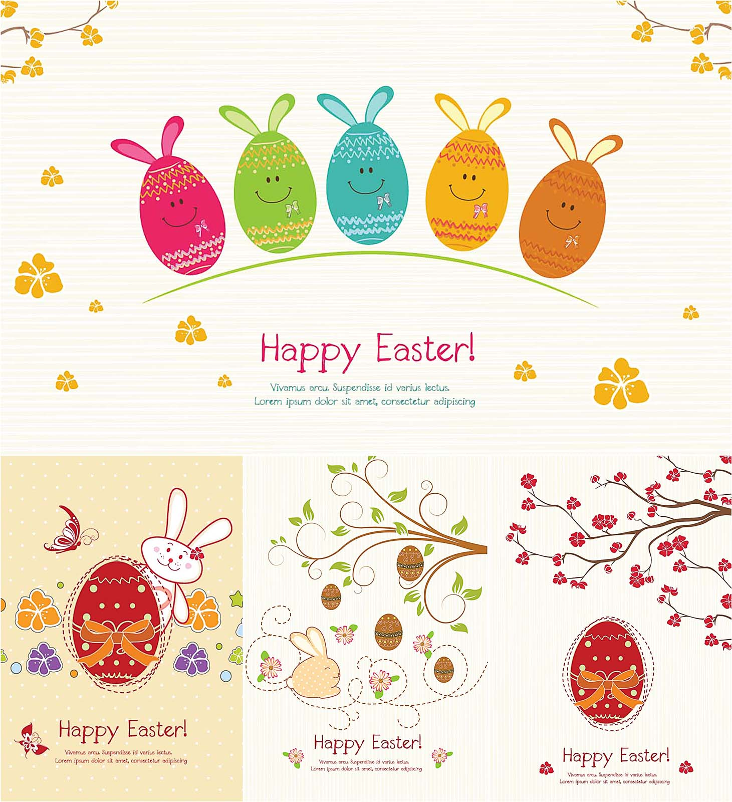 Easter greeting card set vector