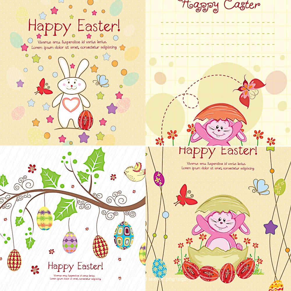 FUnny Easter bunnies set vector
