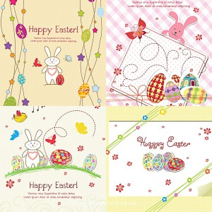 Lovely Easter greeting card vector