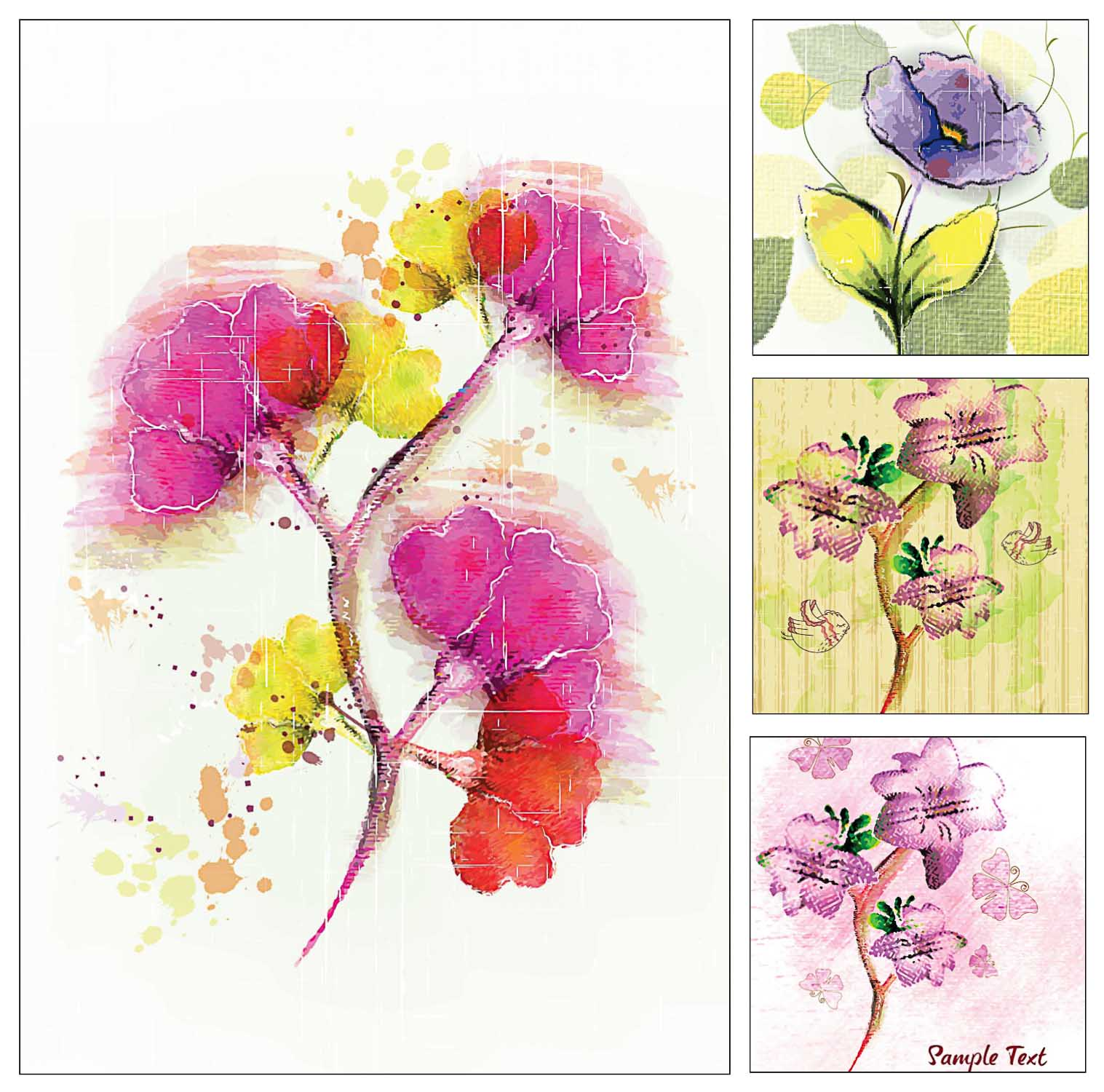 Geourgeous floral cards set vector