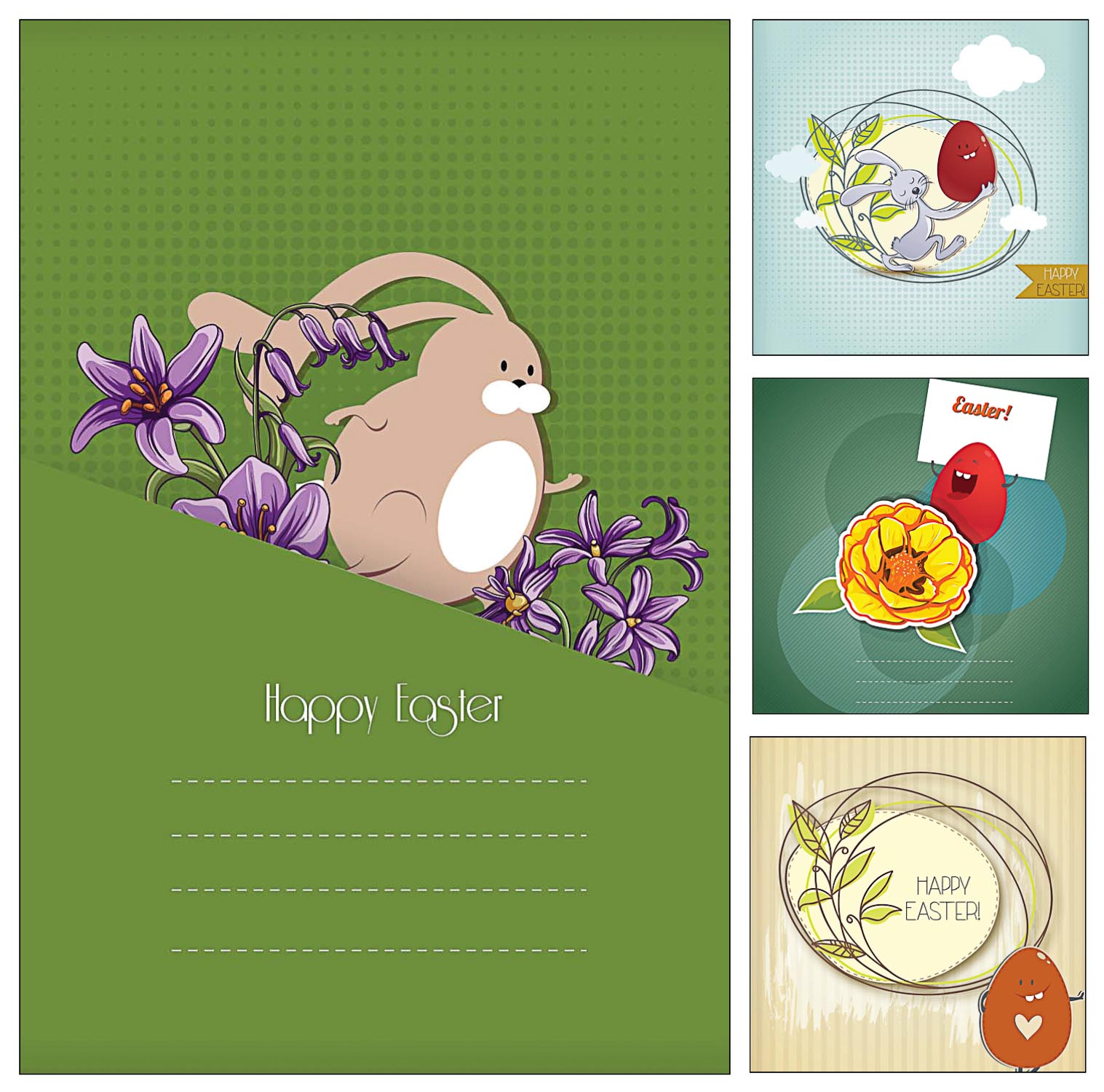 Joyful Easter Greeting Cards Set Free Download