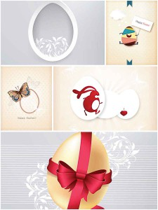 Easter greeting cards simple set vector
