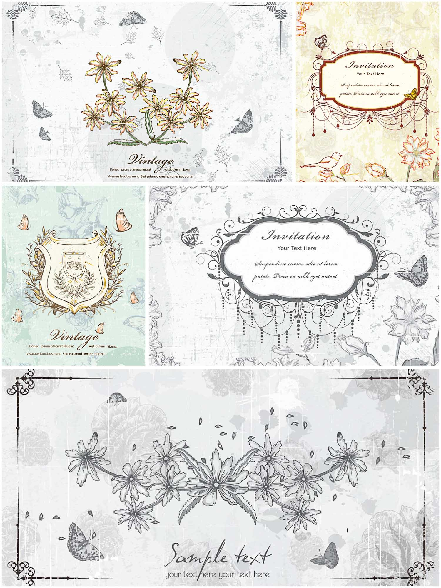 old floral invitation vector cards