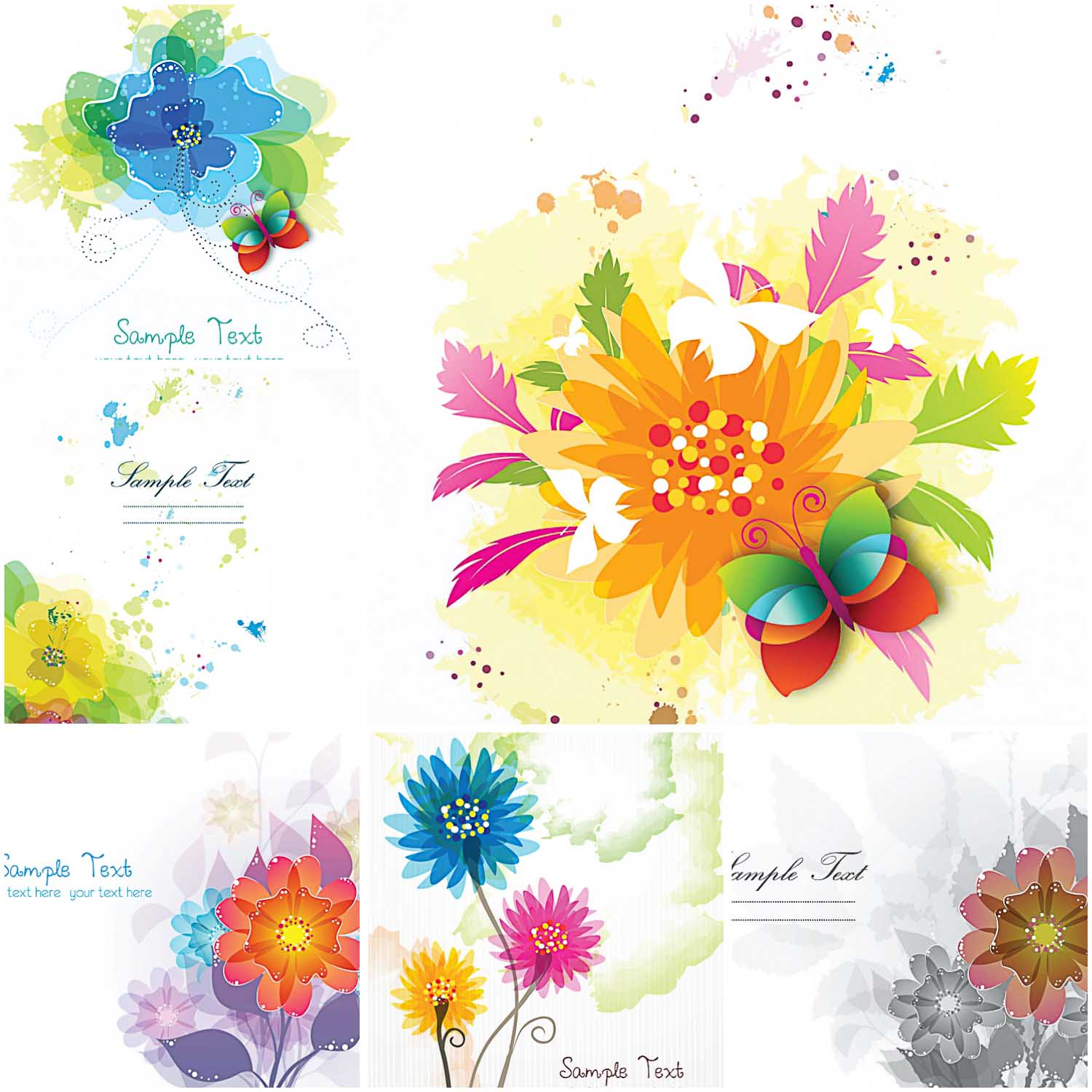 Wonderful floral greeting cards with bright colors