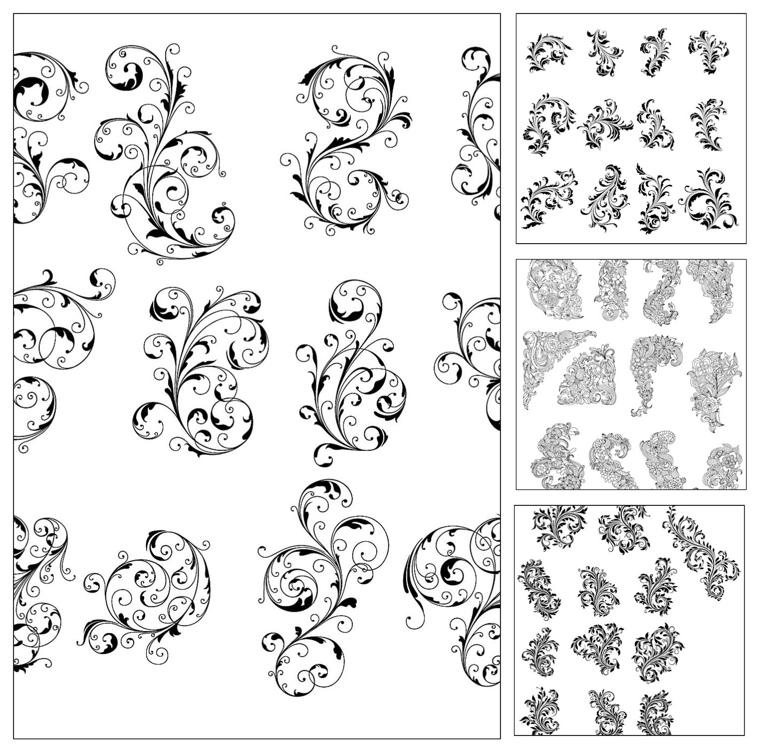 Lovely ornate patterns vector