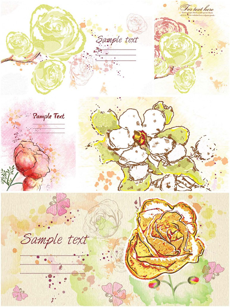 painted flowers cards set vector  free download
