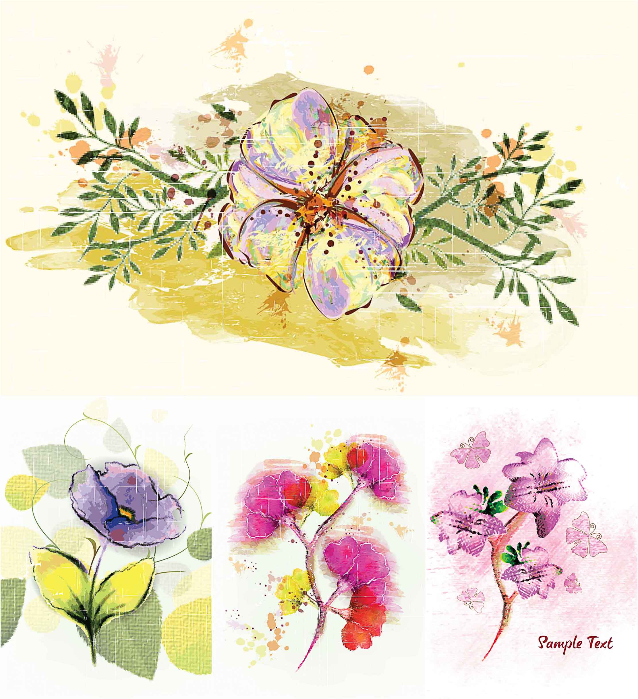 Spring floral painted cards