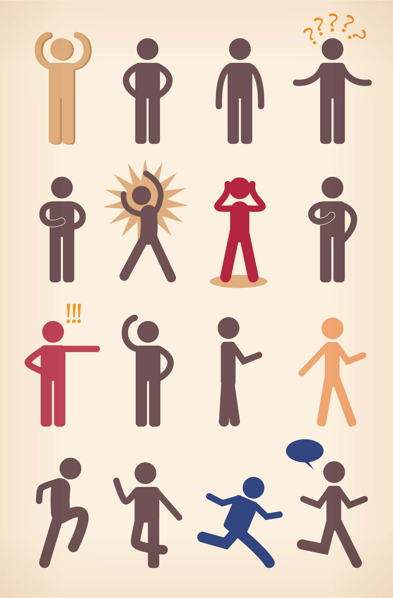 Funny cartoon clipart with people vector