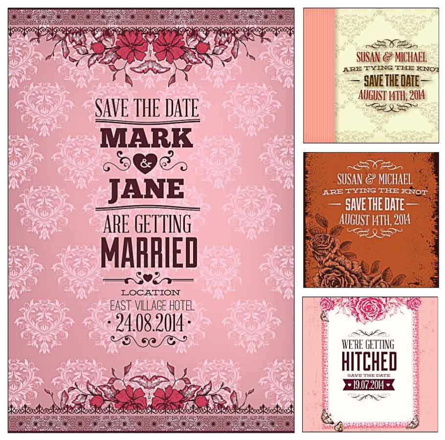 Pink wedding invitation cards vector | Free download