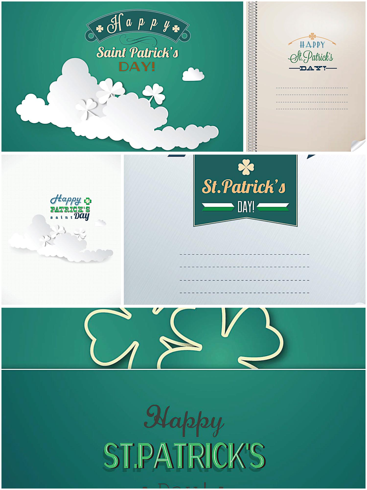 St.Patrick's Day greeting card light green vector