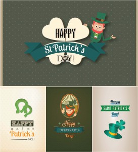Holiday Saint Patrik's Day card set vector