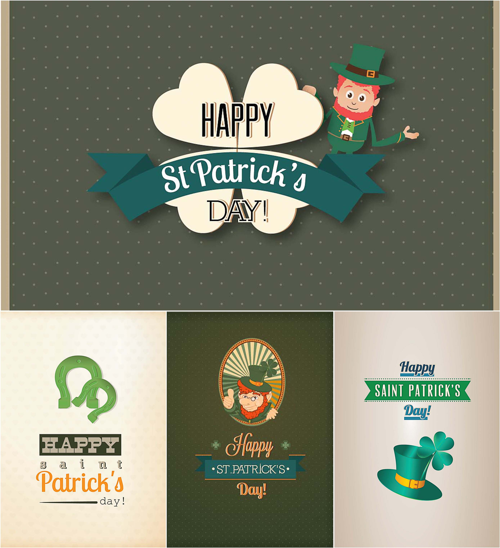 Holiday Saint Patrick's Day card set vector
