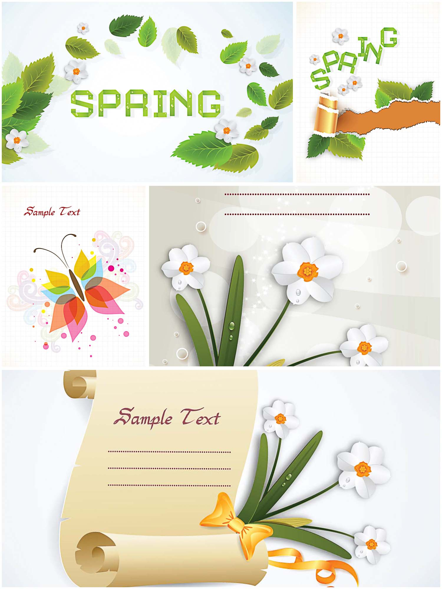 Great spring cards and backgrounds set vector