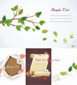 Great spring floral backgrounds with leaves set vector