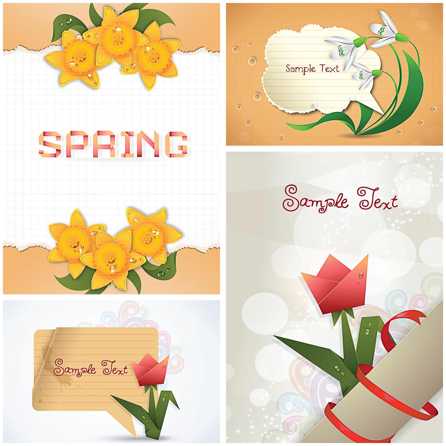 Modern spring floral greeting card set vector