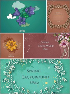 Delicate green background images with spring flowers