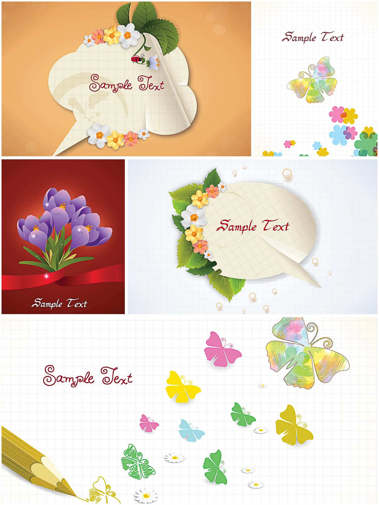 Holiday cards with butterflies and flowers set vector