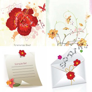 Floral spring invitations set vector