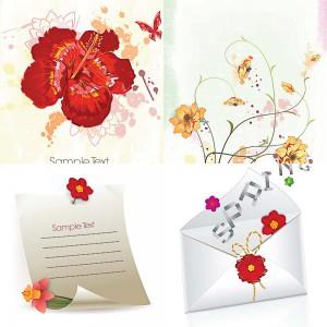 Floral spring invitations set vector