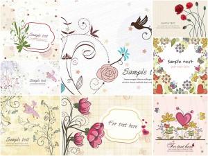 Ornate spring postcards with birds