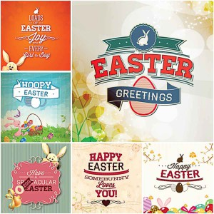 Joyful festive Easter card with rabbits