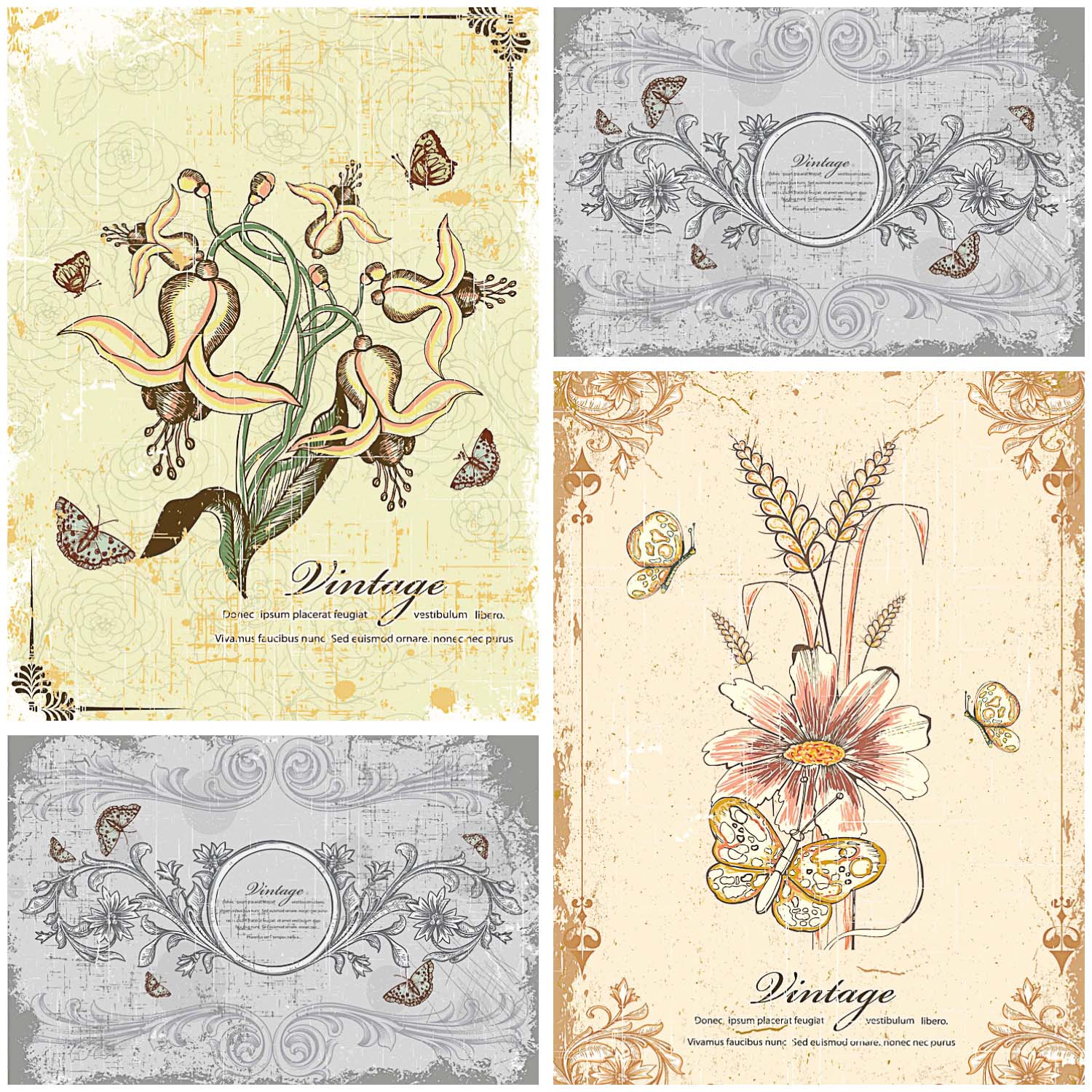 Antique floral ornaments card set vector
