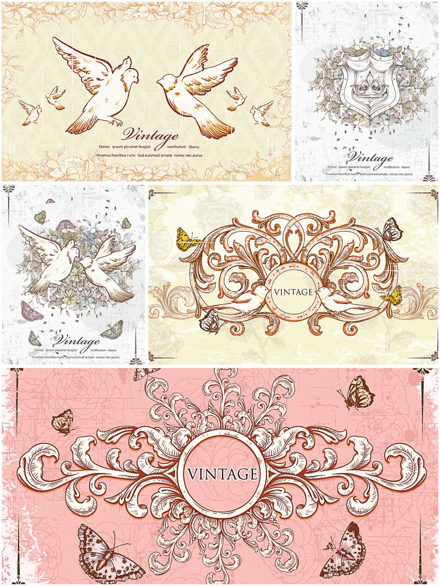 Ancient frames and invitation cards set vector