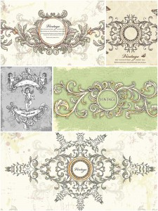 Retro wedding card invitations set vector