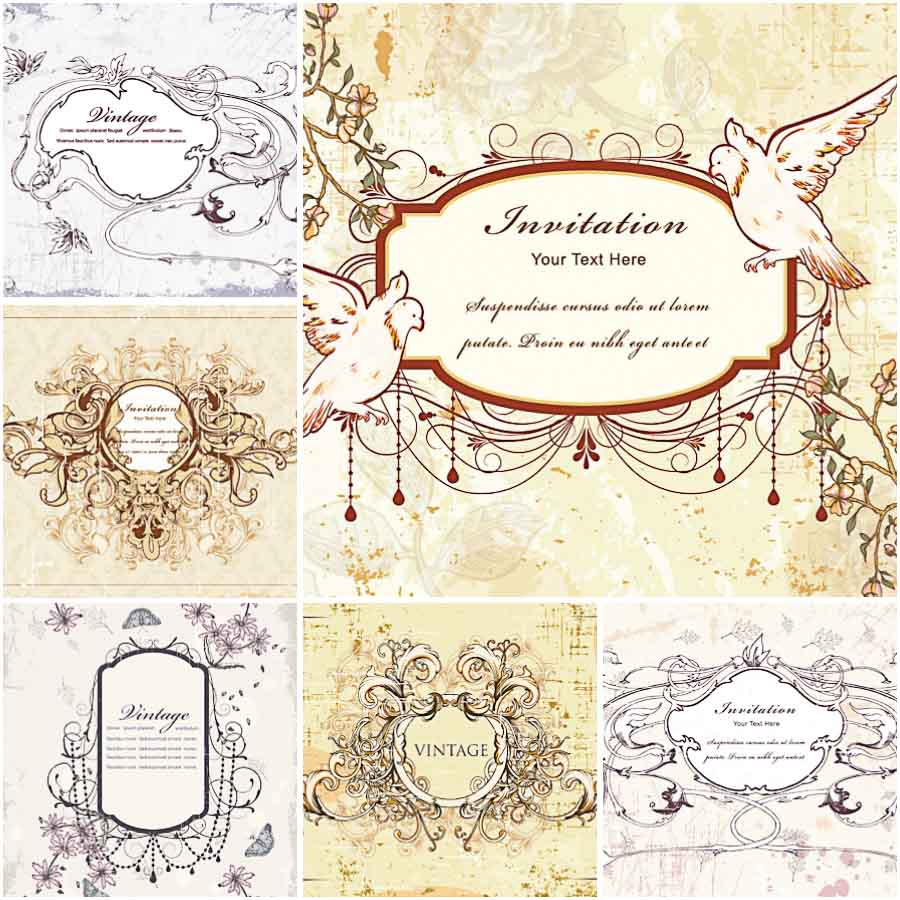 Wedding invitation vector illustration vector free download - Vector Vintage Wedding Invitations With Doves